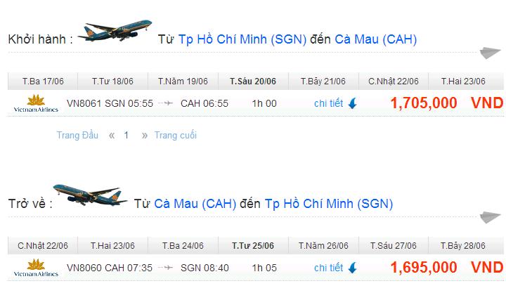 vé máy bay đi cà mau