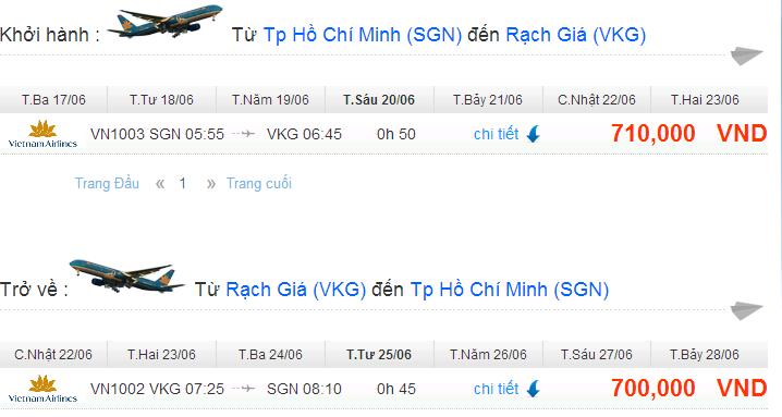 vé máy bay khuyến mãi đi rạch giá