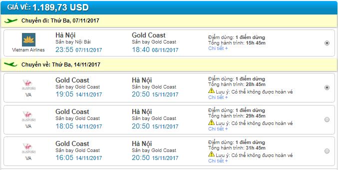 giá vé máy bay đi gold coast