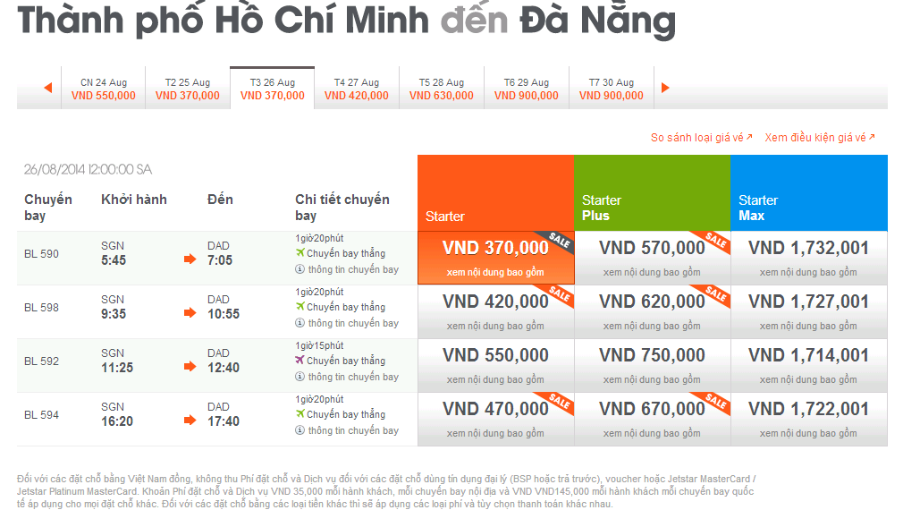 ve may bay di da nang hang jetstar