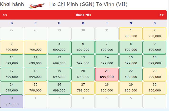 vé máy bay đi vinh giá rẻ