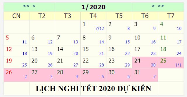 lịch nghỉ tết 2020 chính thức