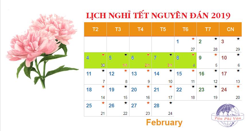 lịch nghỉ tết âm lịch 2019