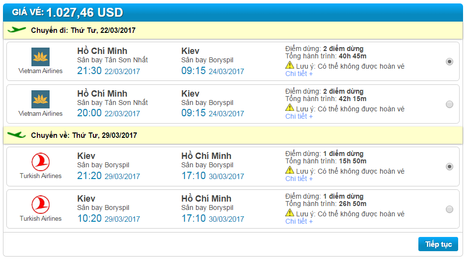 đặt vé máy bay đi Kiev