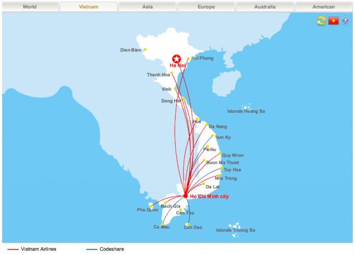 mạng đường bay vietnam airlines