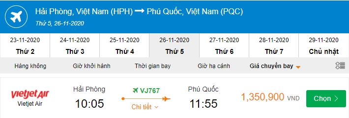 Vé máy bay đi Phú Quốc bao nhiêu