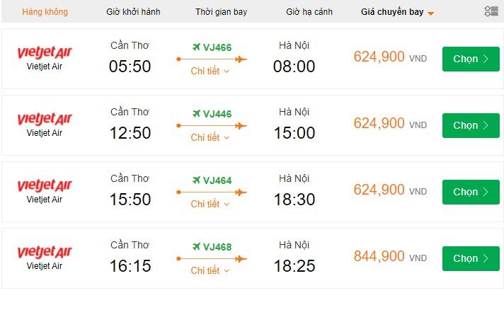 Vé máy bay từ Cần Thơ đi Hà Nội giá rẻ