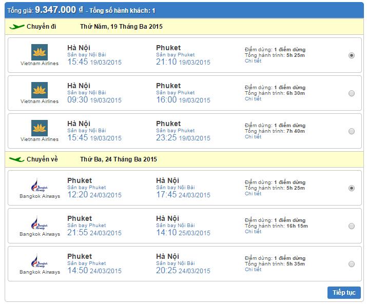 Vé máy bay Hà Nội đi Phuket khứ hồi giá rẻ
