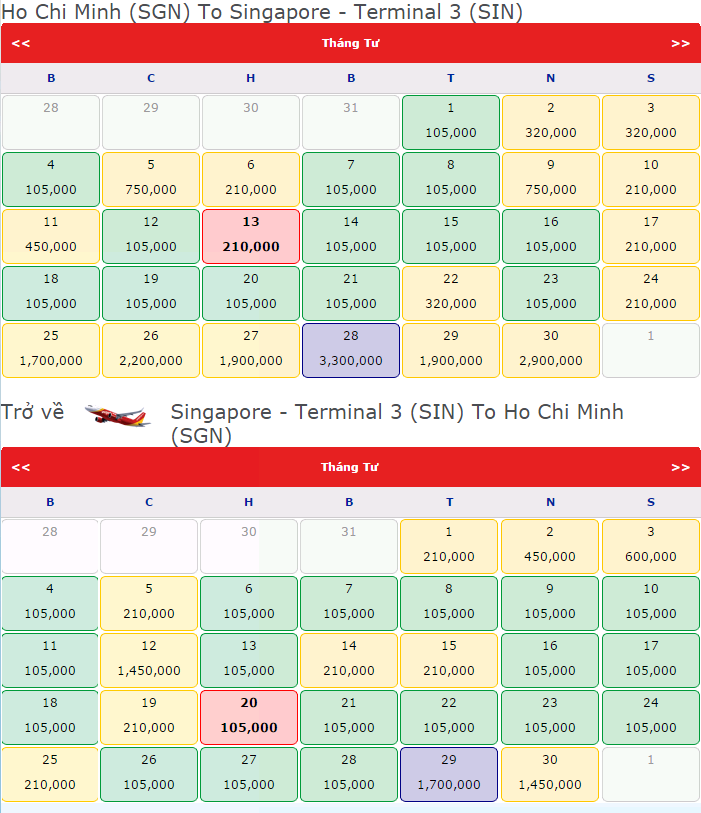 vé máy bay đi Singapore hãng Vietjet