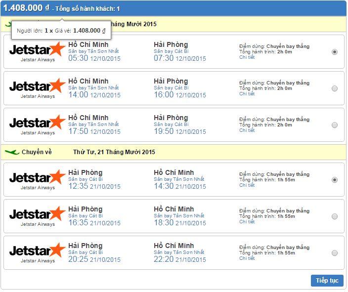 giá vé máy bay đi hải phòng hãng jetstar