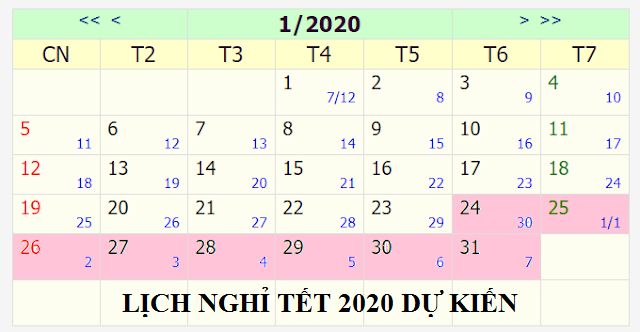 lịch nghỉ tết 2020 dự kiến