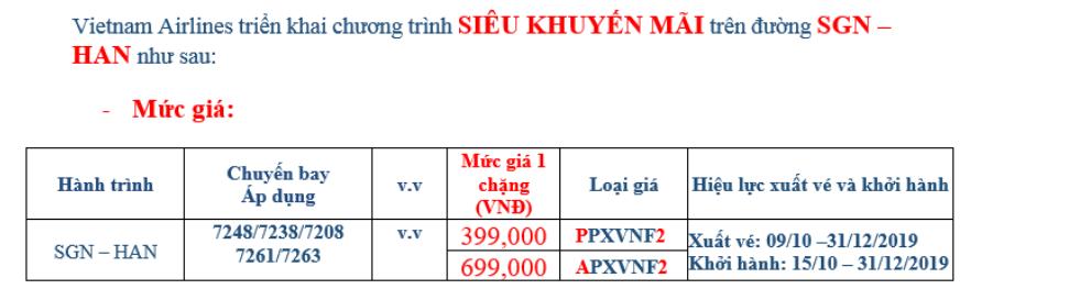 khuyến mãi vé máy bay đi hà nội 399k vietnam airlines