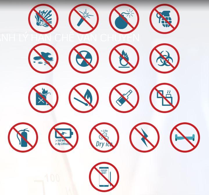 những vật phẩm cấm mang theo khi đi máy bay