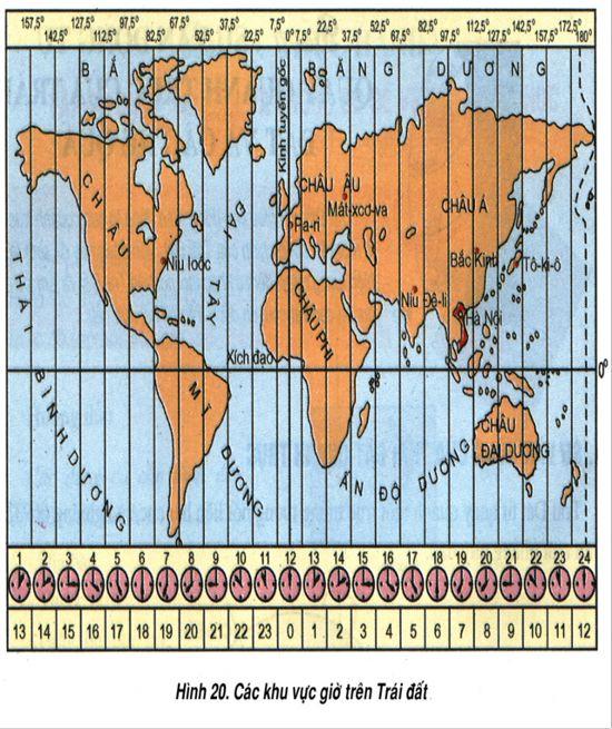 các khu vực giờ trên trái đất